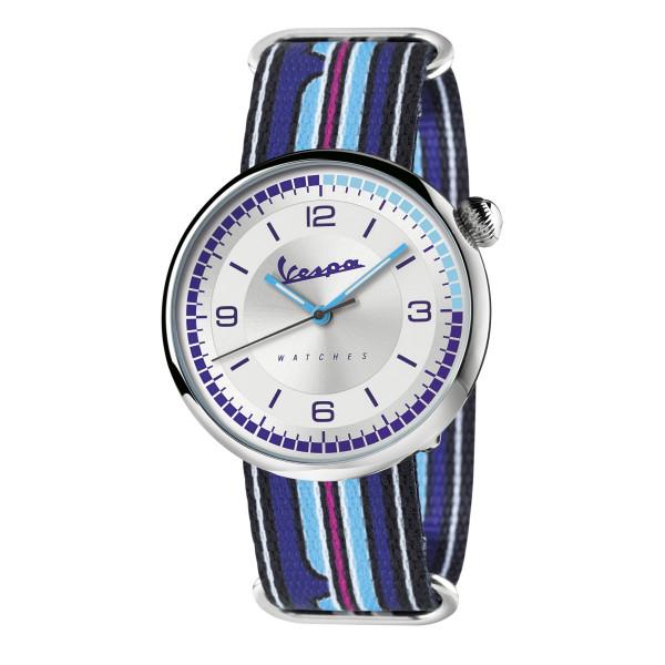 VESPA Uhr - Irreverent silber mit dunkel-/hellblauem Textilarmband