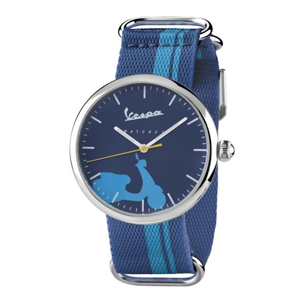 VESPA Uhr - Irreverent silber mit dunkelblauem Textilarmband