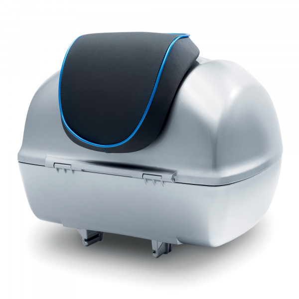 Rückenpolster schwarz mit blauem Keder für 32 Lit. Topcase