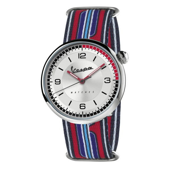 VESPA Uhr - Irreverent silber mit blau/rotem Textilarmband