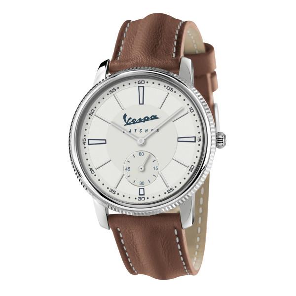 """VESPA Uhr - Heritage """"Kleine Sekunde"""" silber/weiß mit braunem Lederarmband"""