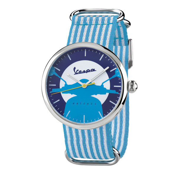VESPA Uhr - Irreverent silber mit hellblau/weißem Textilarmband