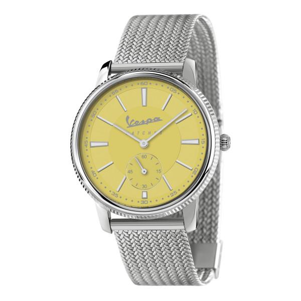 """VESPA Uhr - Heritage """"Kleine Sekunde"""" silber/gelb mit Edelstahlarmband"""