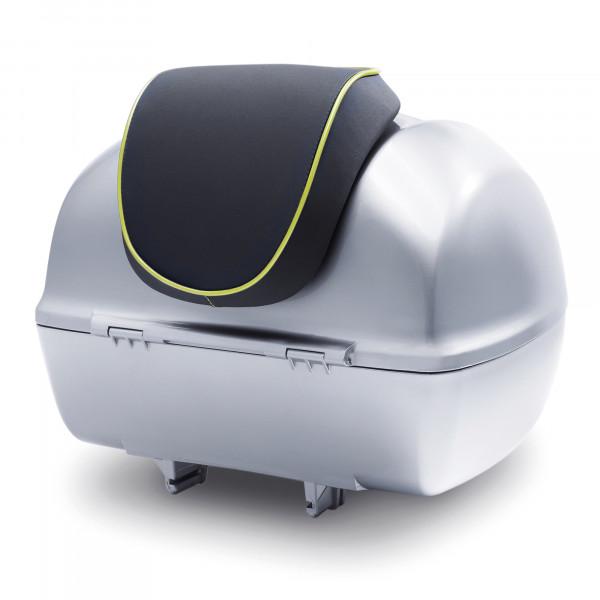 Rückenpolster schwarz mit grünem Keder für 32 Lit. Topcase