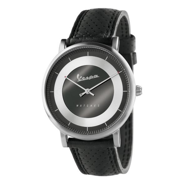 VESPA Uhr - Classy silber mit schwarzem Lederarmband