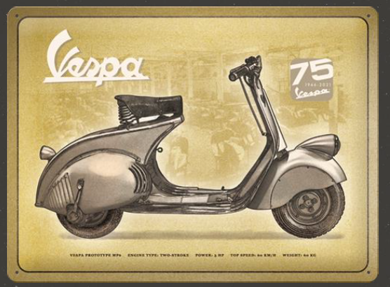 "Vespa ""75th"" Vintage Blechschild"