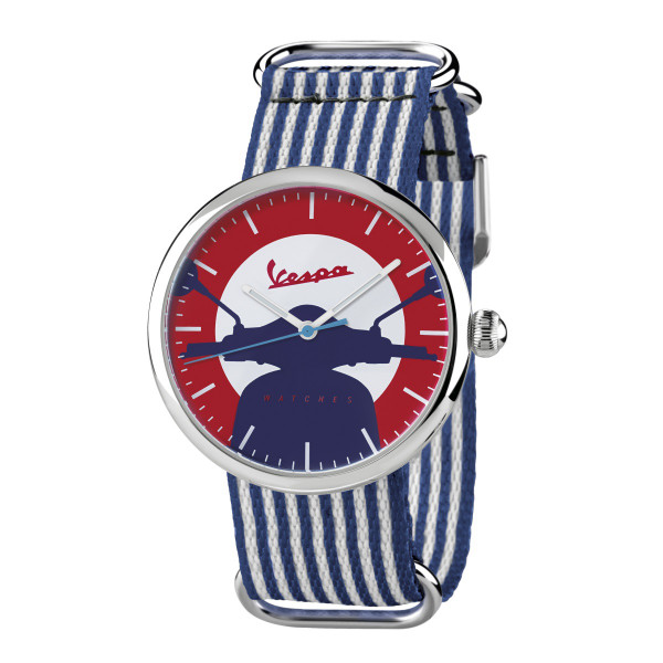 VESPA Uhr - Irreverent silber mit dunkelblau/weißem Textilarmband